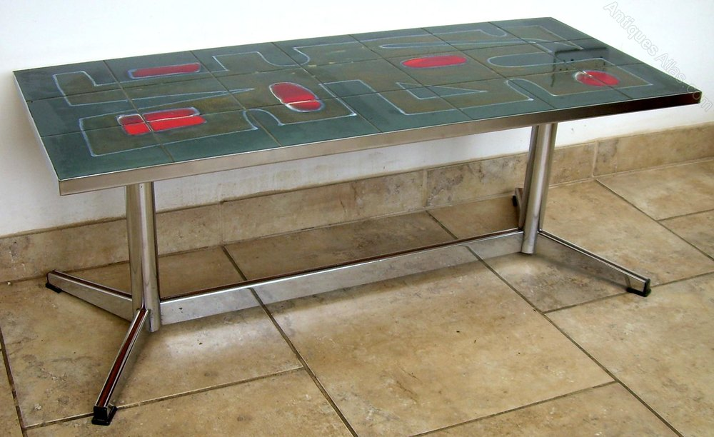 A Retro Tile And Chrome Coffee Table Midcentury Vintage Tables