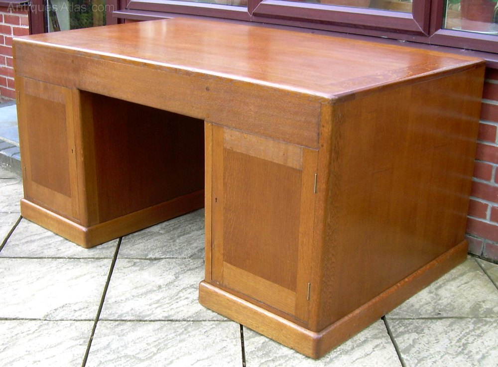 A Large Golden Oak Desk Antique Desks