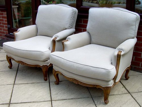 A pair of French bergere style armchairs ... & A Pair Of French Bergere Style Armchairs - Antiques Atlas