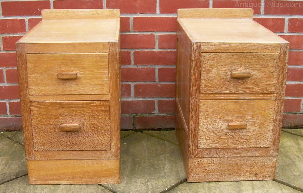 A Pair Of Heals Limed Oak Bedside Cabinets
