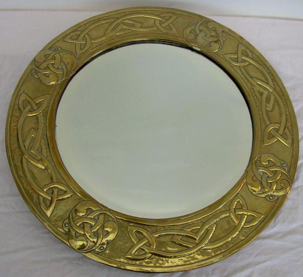 Arts Crafts Repousse Brass Framed Mirror