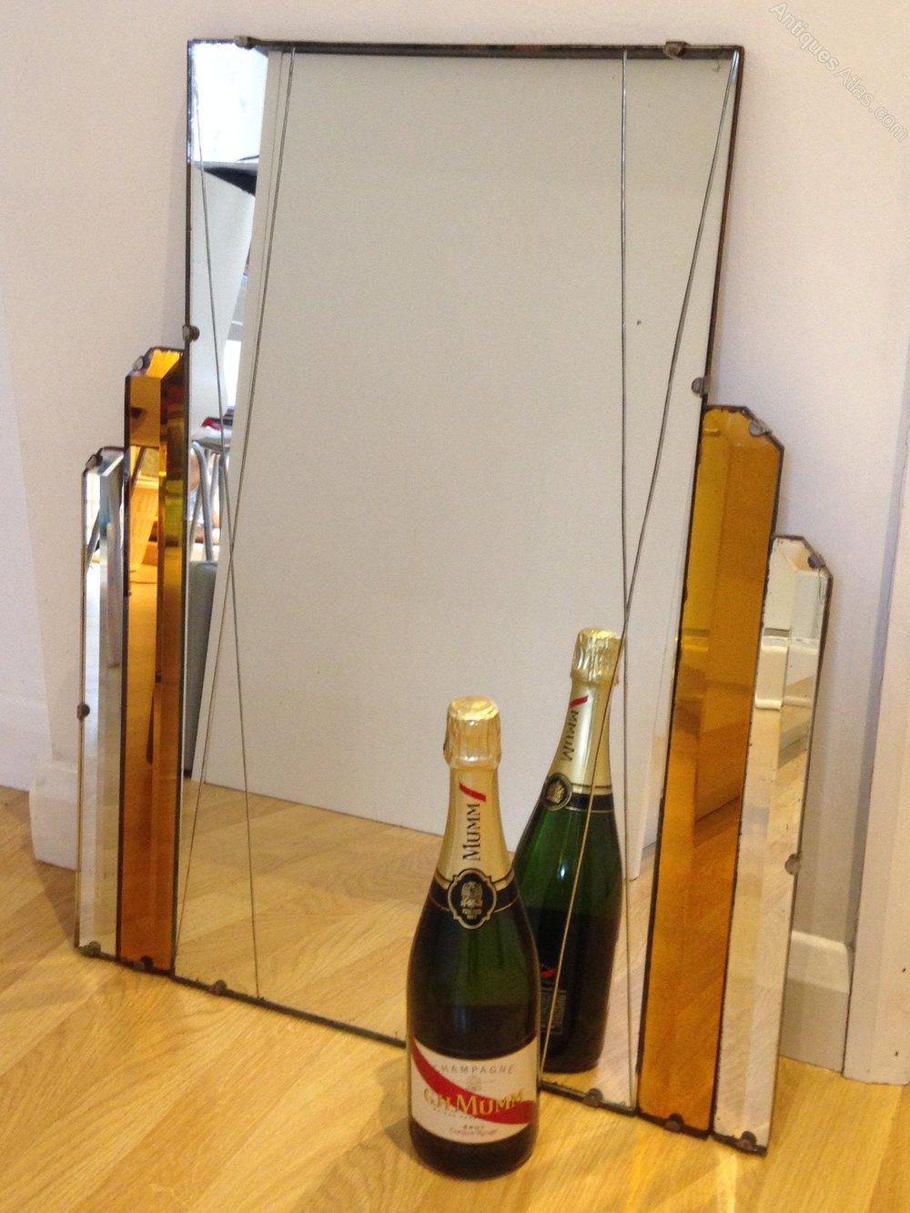 Large original art deco mirror wall mirror