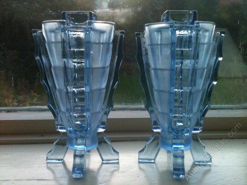 Antiques Atlas Stunning Pair Of Deco Bagley Bamboo Glass Vases