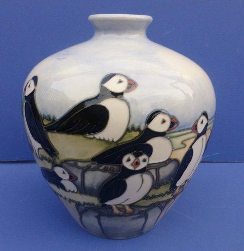 Antiques Atlas Moorcroft Vase Puffins By Vicky Locatt