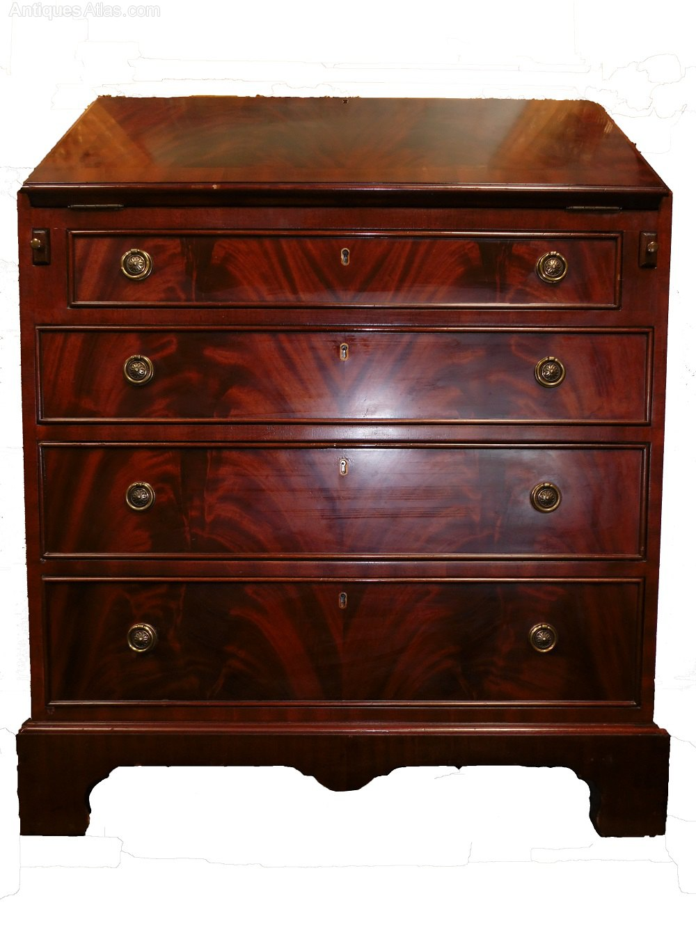 English George İİİ Mahogany Fall Front Desk  Antiques Atlas