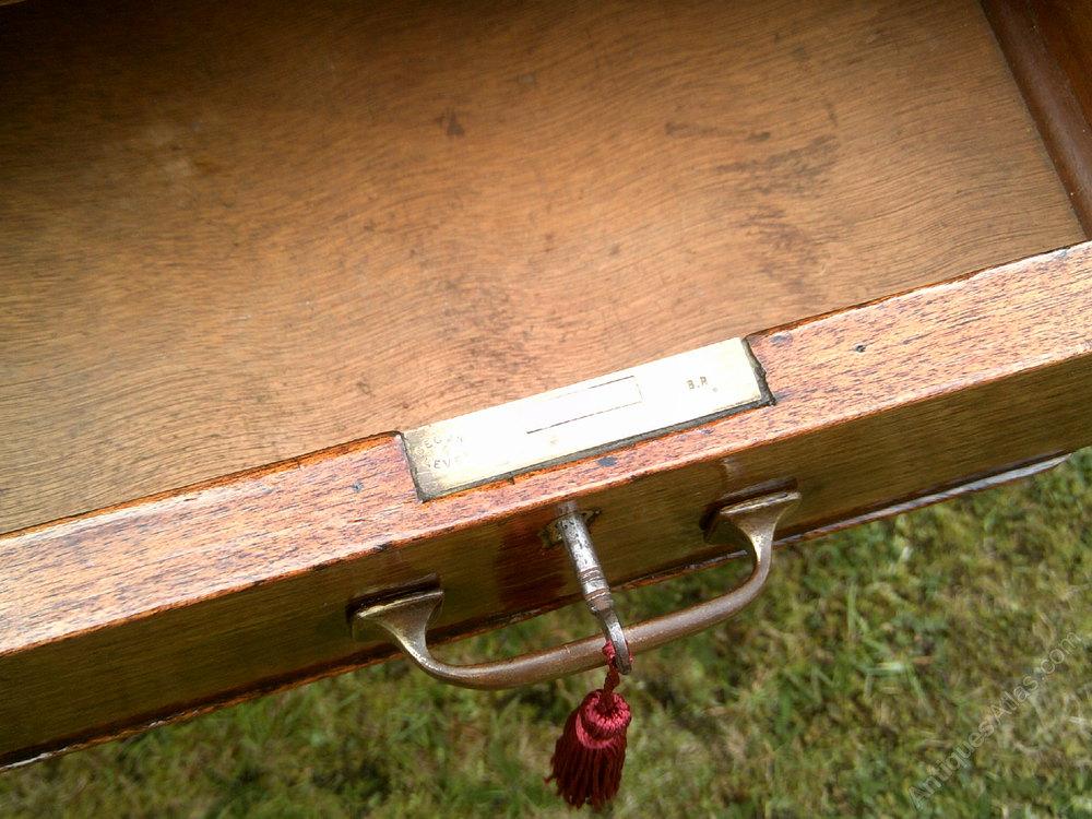 Leather Inlaid Writing Desk Antique Desks Table Alt5 Alt6