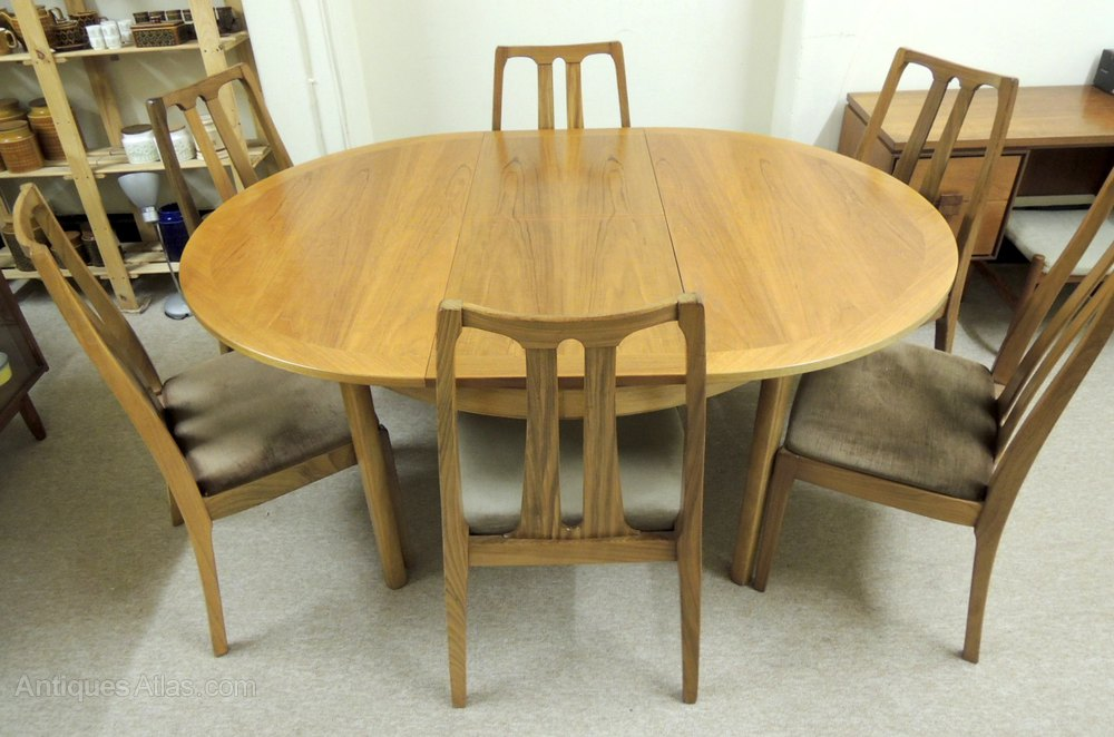 Antiques Atlas Nathan Extending Dining Table Chairs - Teak oval extension dining table