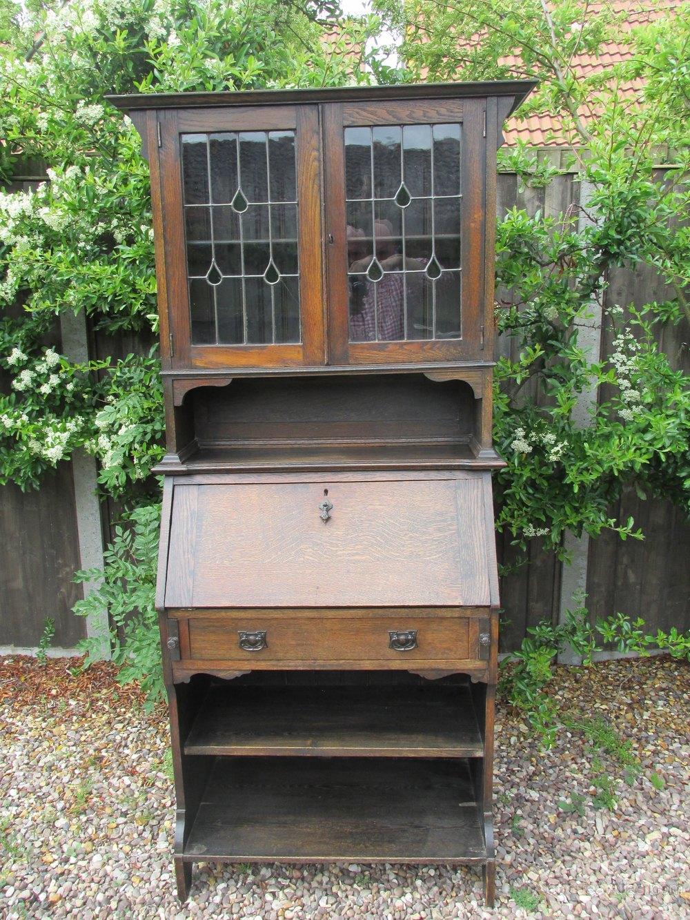 Art Nouveau Bureau Bookcase,solid Oak - Antiques Atlas