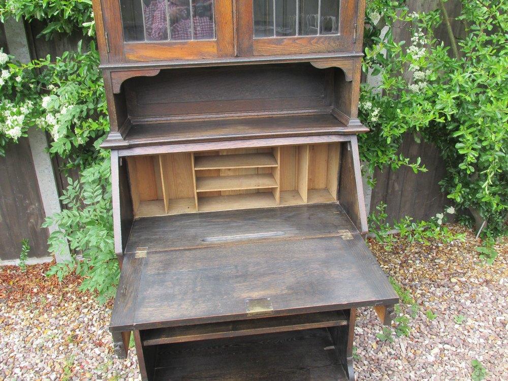 Art nouveau bureau bookcase solid oak antiques atlas