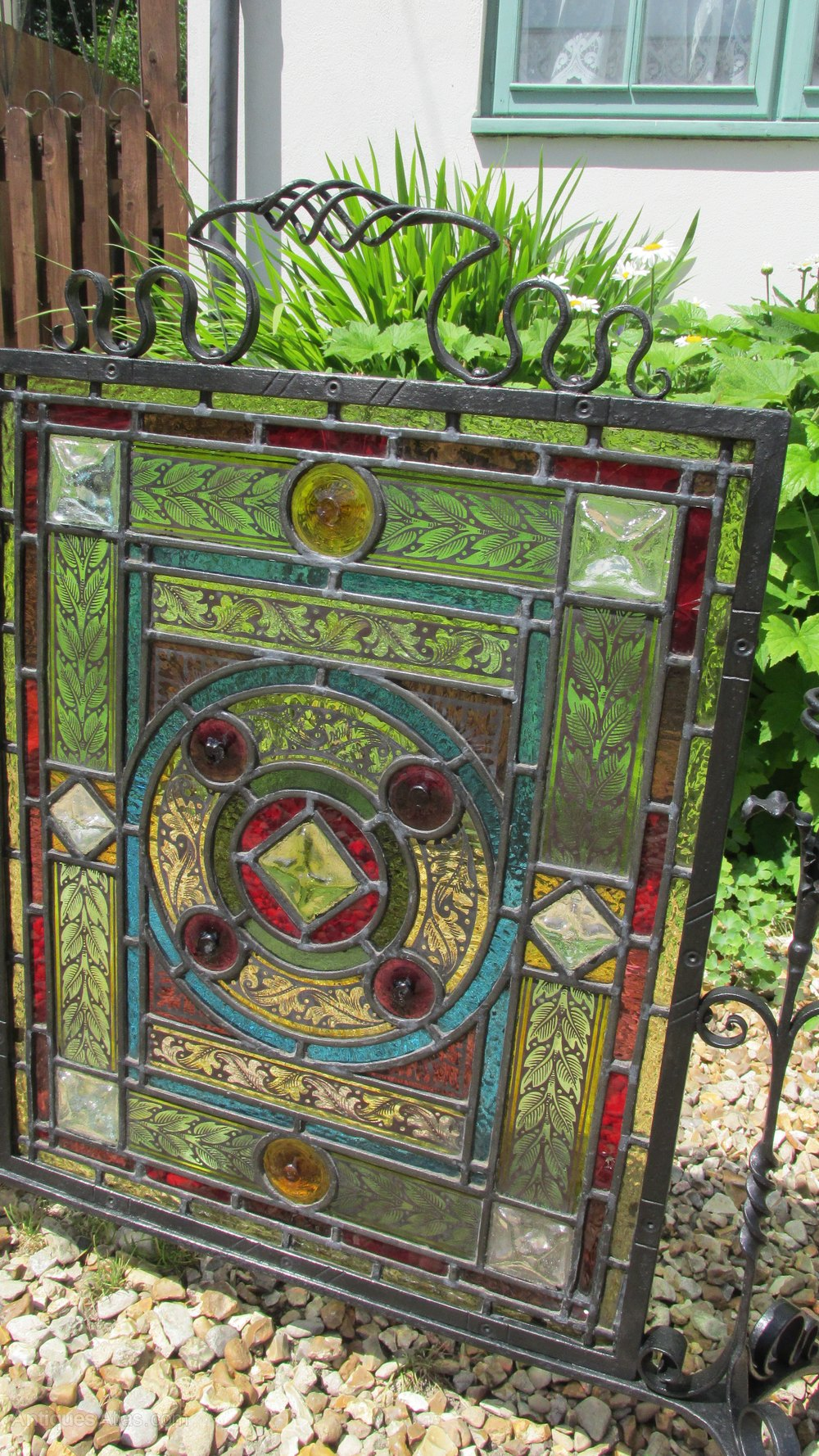 Antiques Atlas Arts And Crafts Stained Glass Firescreen