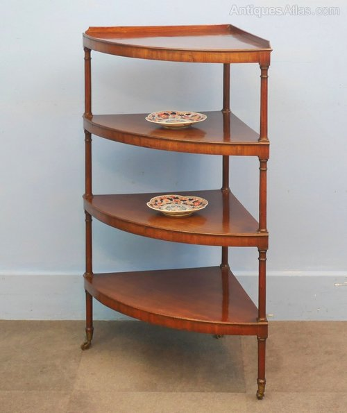 Regency Mahogany Corner Whatnot Shelves