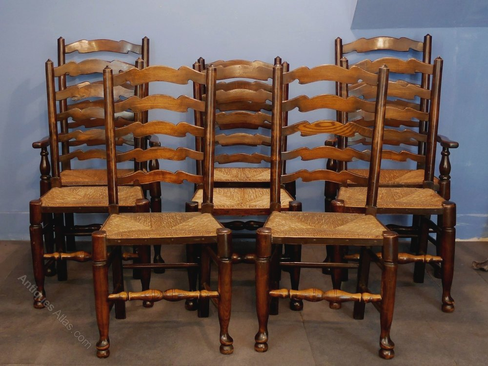 Set of eight ladderback dining room chairs antiques atlas for Antique dining room furniture
