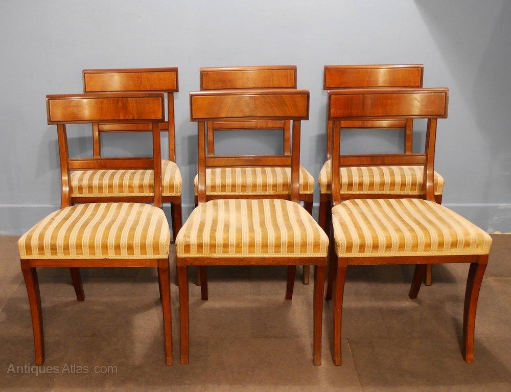 Set Of Six Regency Style Mahogany Dining Chairs