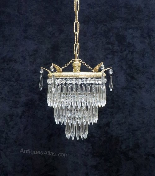 Art Deco Three Tier Crystal Gl Chandelier