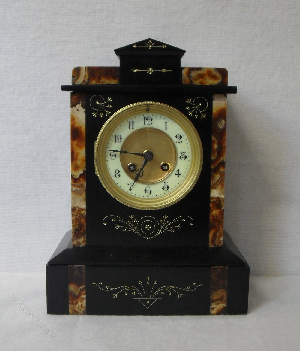 Antiques Atlas Black Slate Mantel Clock