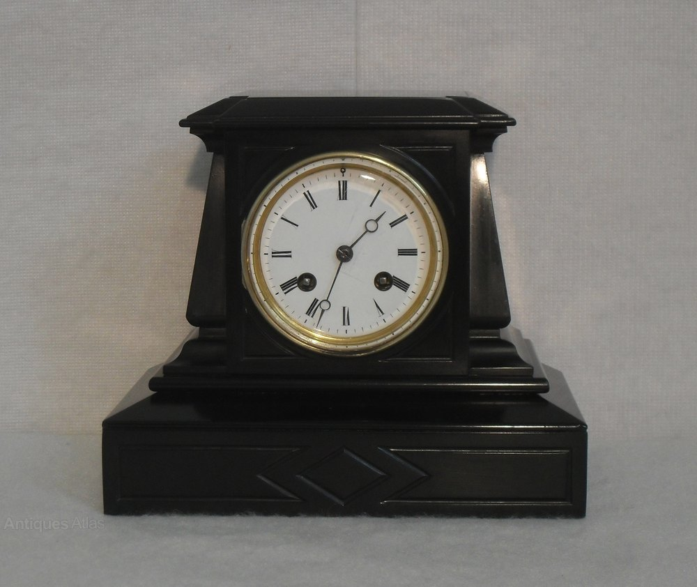 Antiques Atlas - Black Slate Mantel Clock