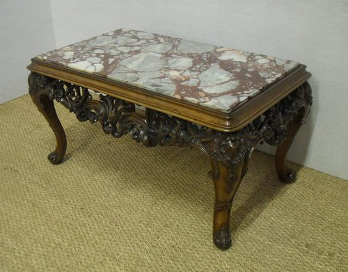 Carved Walnut Coffee Table Antique