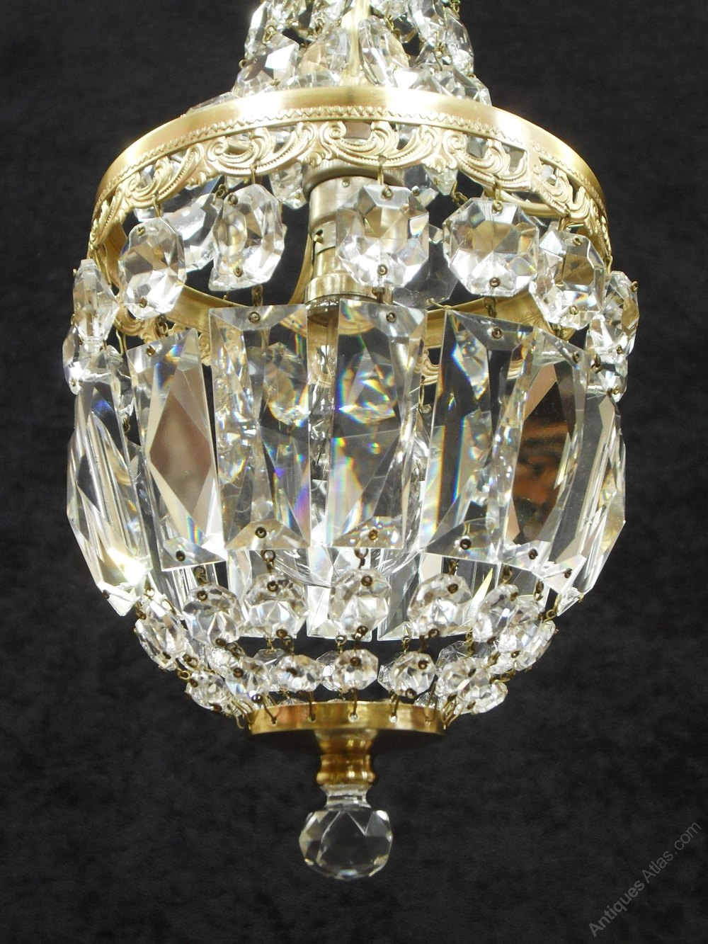 Antiques Atlas - French Cut Crystal Glass Basket Chandelier