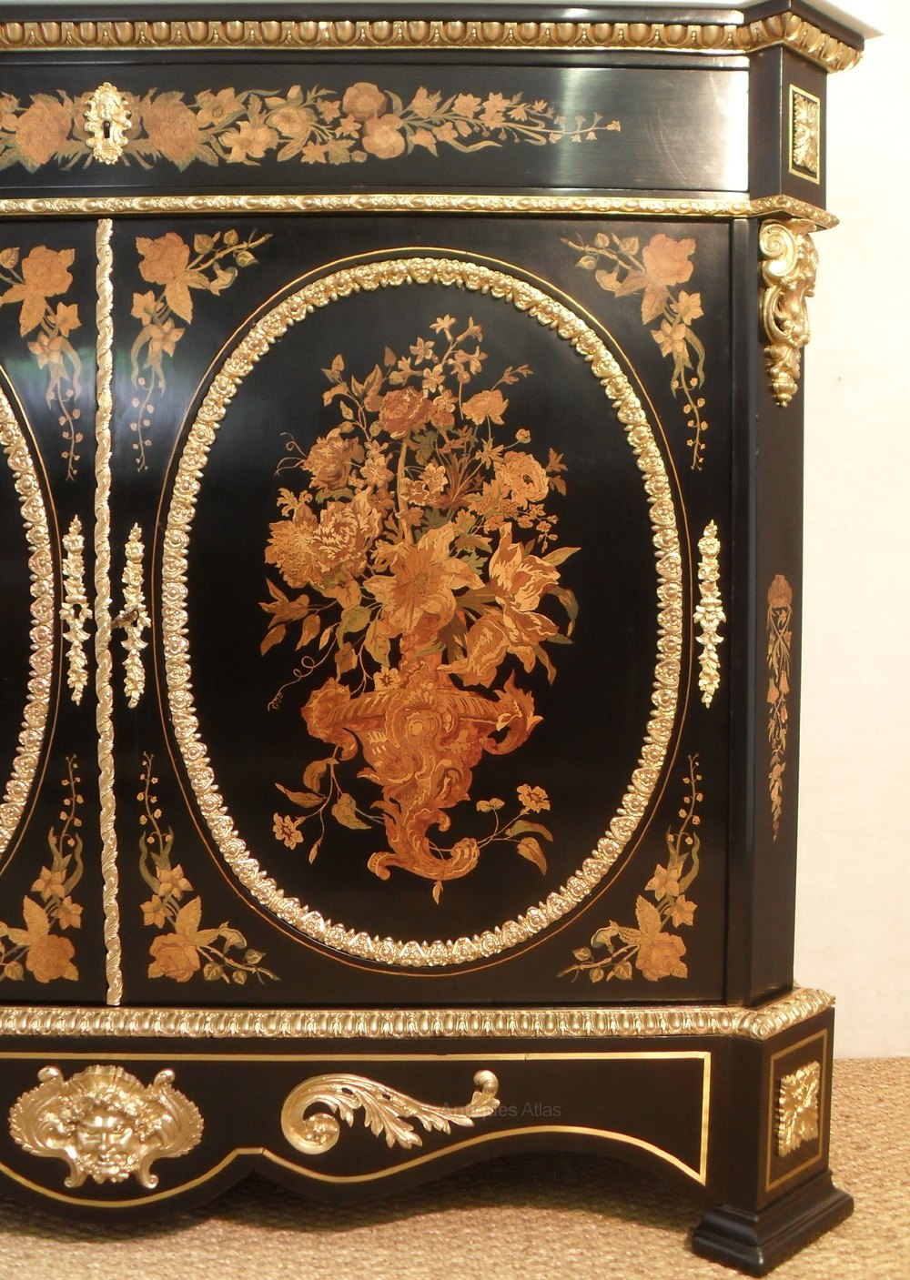 Beautiful French Marquetry Side Cabinet Antique Side Cabinets ...