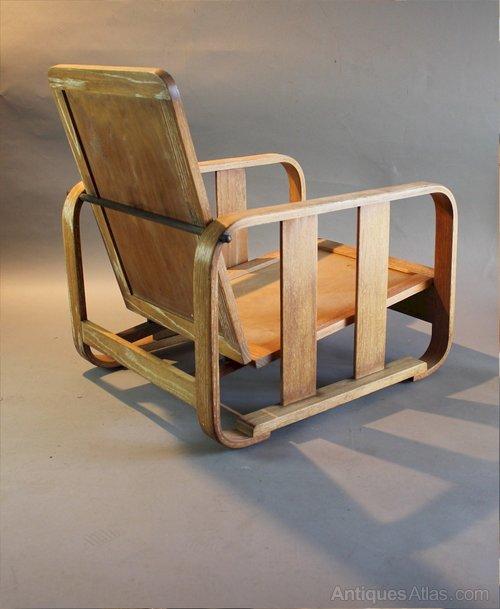 1930s Heals Limed Oak Bentwood Lounge Chair Antique Armchairs Heals Limed  Oak ...