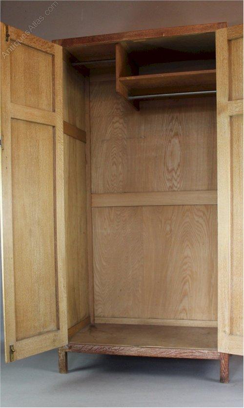 1930's Heals Limed Oak Wardrobe From The Russet Range