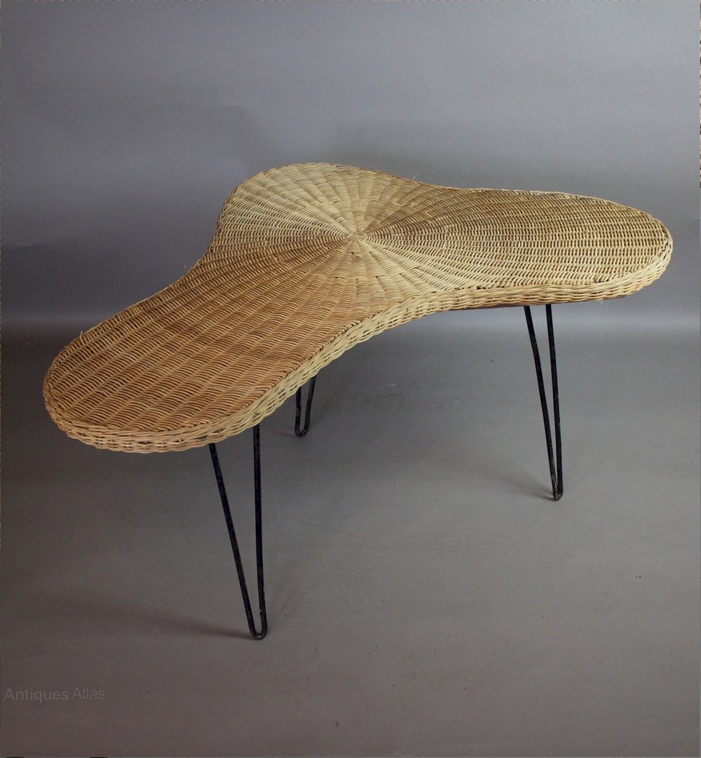 1950s Wicker Boomerang Table Possibly By Conran.