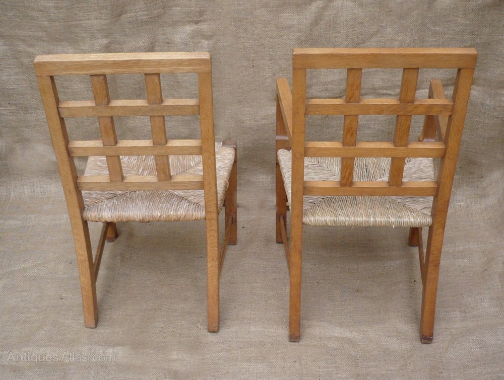 2 Childrens Lattice Back Chairs In Pale Oak Antique Childs Chairs Arts And  Crafts Childrens Chairs ...