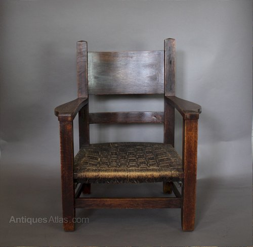 American Arts And Crafts Mission Armchair C1900 Antiques