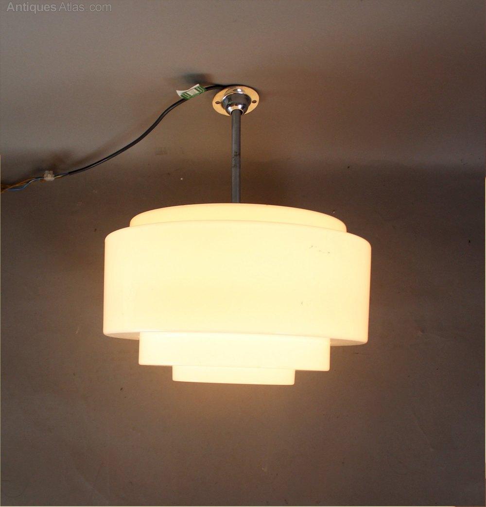 Antiques Atlas - Art Deco Modernist Chrome And Stepped Opaline Lamp