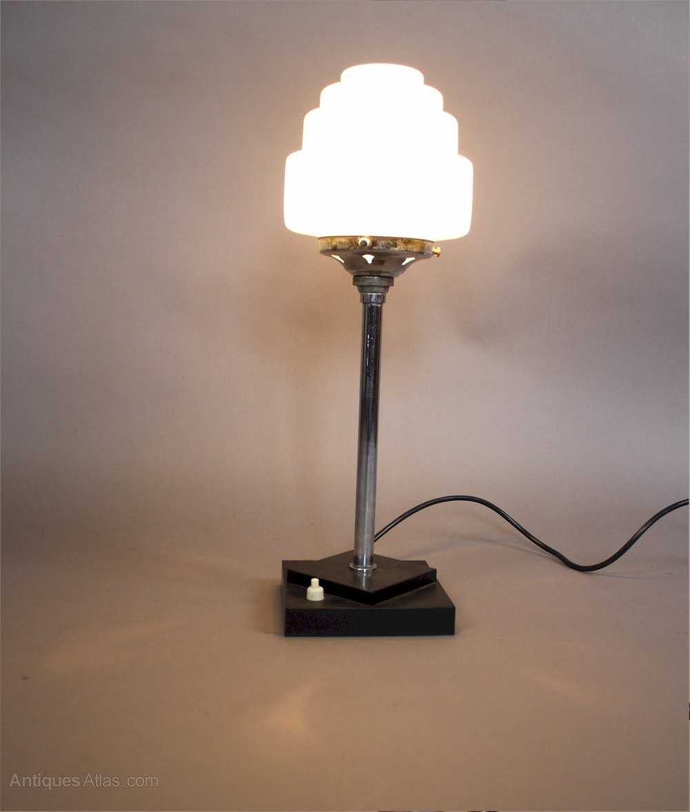 Antiques Atlas Art Deco Chrome Lamp With Stepped Shade