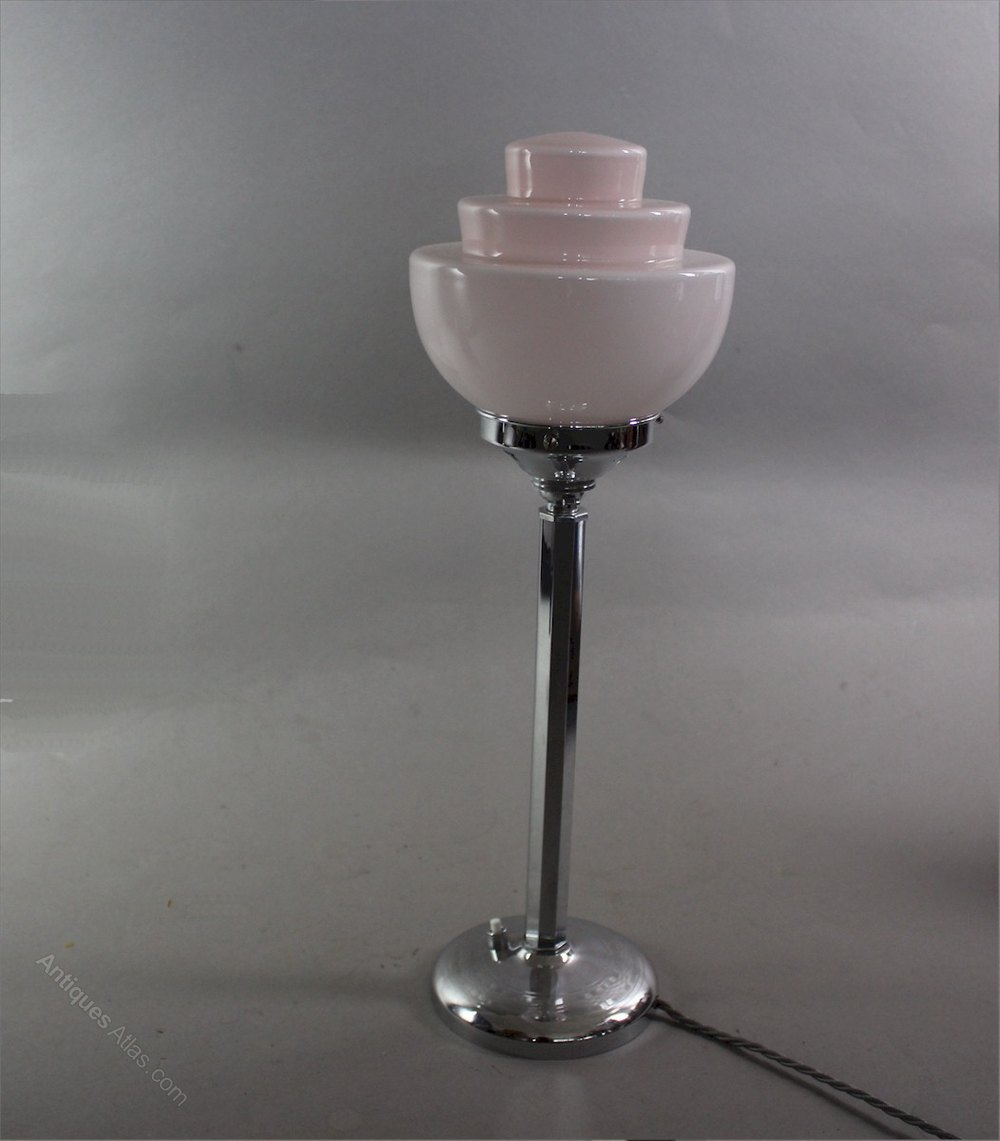 antiques atlas art deco chrome table lamp with stepped pink shade