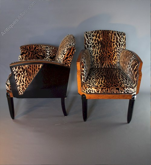 Art Deco Pair Of Lounge Chairs Wood