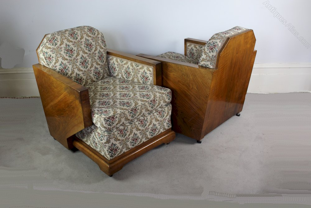 Art deco walnut wood back piece lounge suite antiques atlas