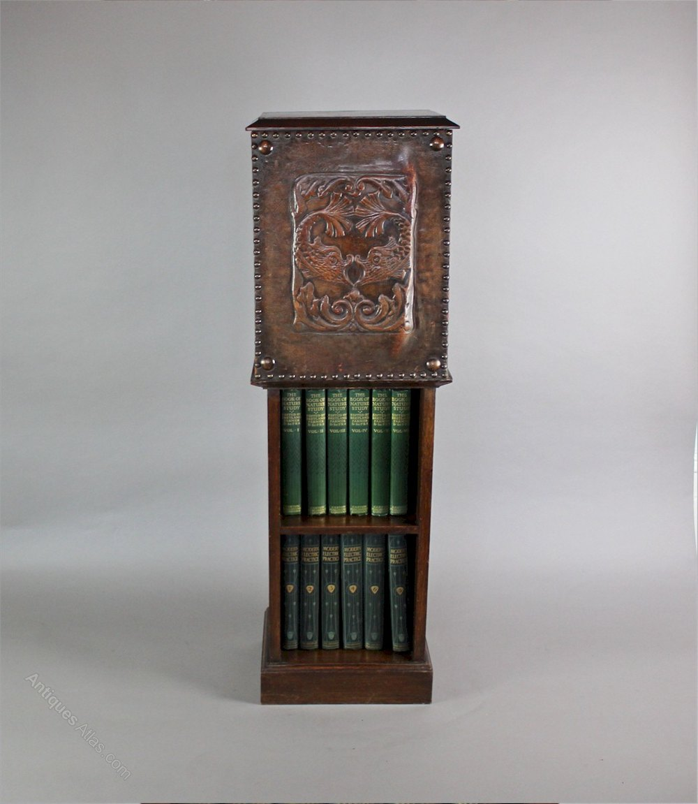 Arts and crafts bookcase leather serpent c1900 for Arts and crafts bookshelf
