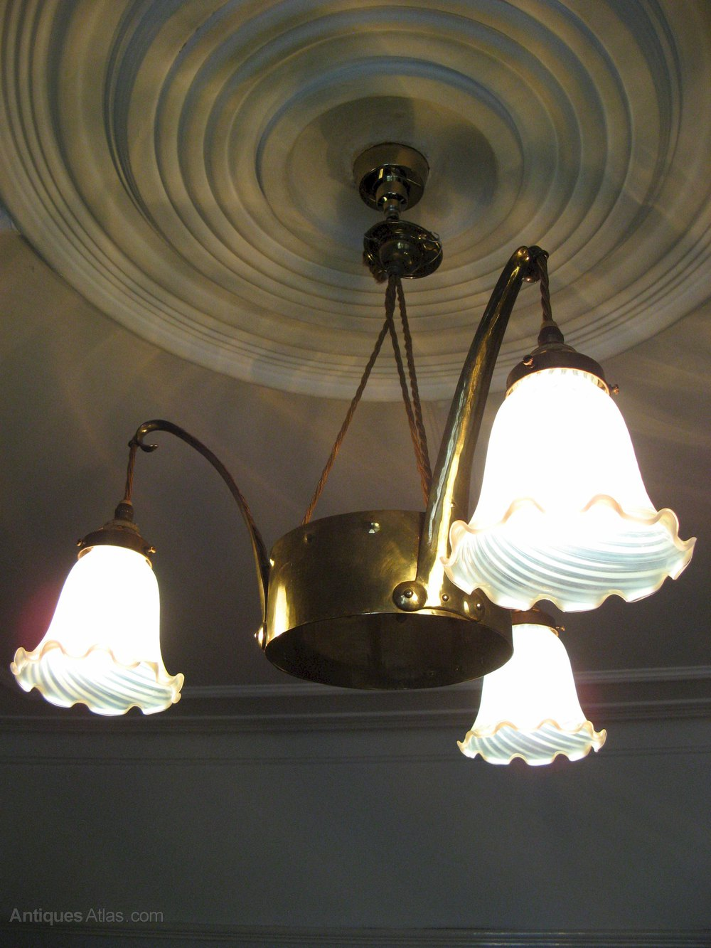 Antiques Atlas Arts And Crafts Brass Ceiling Light