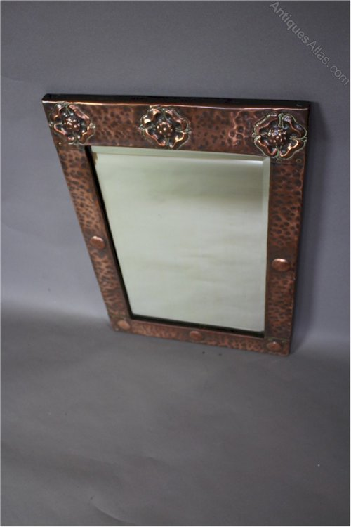 Arts And Crafts Copper Framed Wall Mirror C1900