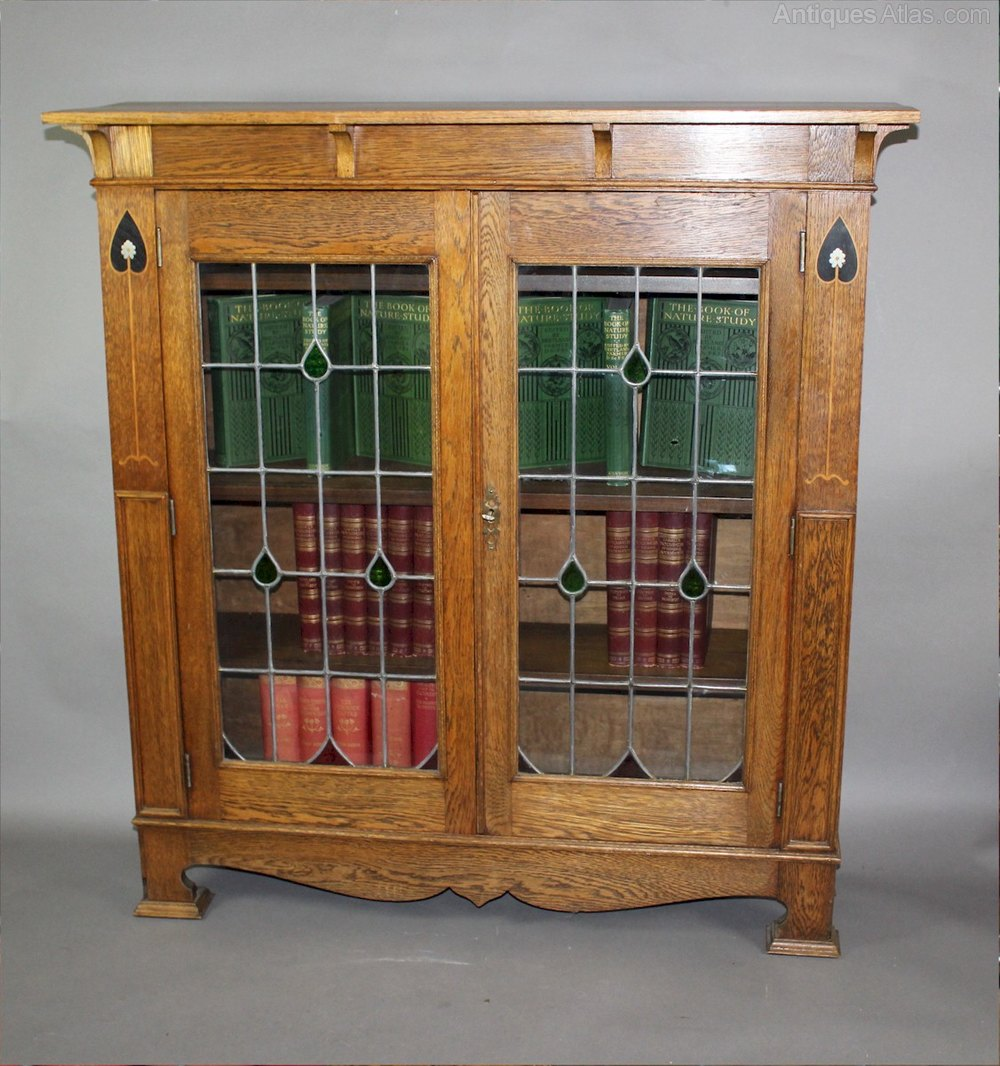 Arts and crafts inlaid oak glazed bookcase antiques atlas for Arts and crafts bookcase