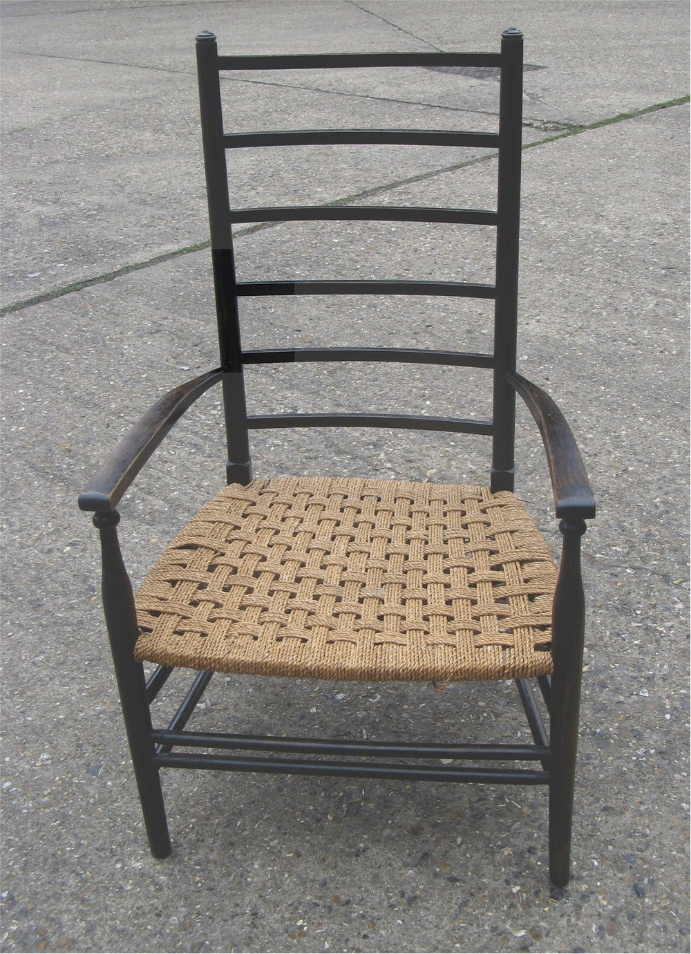 Arts And Crafts Ladder Back Low Chair With Woven S ...