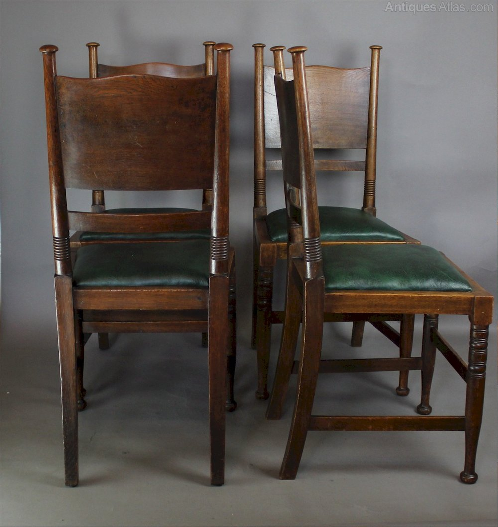 arts and crafts set of chairs william birch antiques atlas. Black Bedroom Furniture Sets. Home Design Ideas