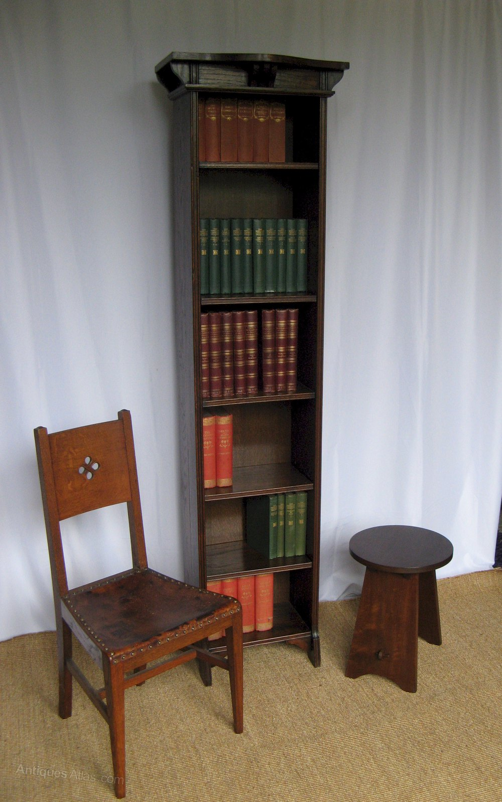 Arts And Crafts Tall Narrow Open Bookcase Antiques Atlas