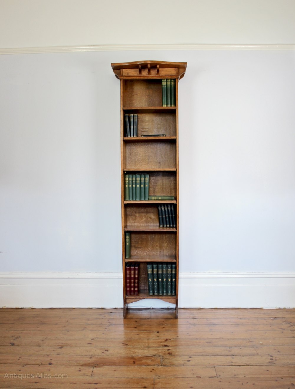 Perfect Arts And Crafts Tall Narrow Open Oak Bookcase - Antiques Atlas XW55