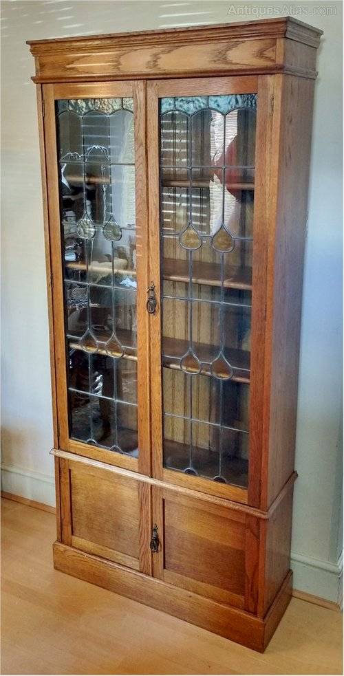 Arts And Crafts Leaded Glass Bookcase