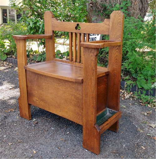 Remarkable Arts And Crafts Hall Seat Settle With Storage Antiques Atlas Machost Co Dining Chair Design Ideas Machostcouk