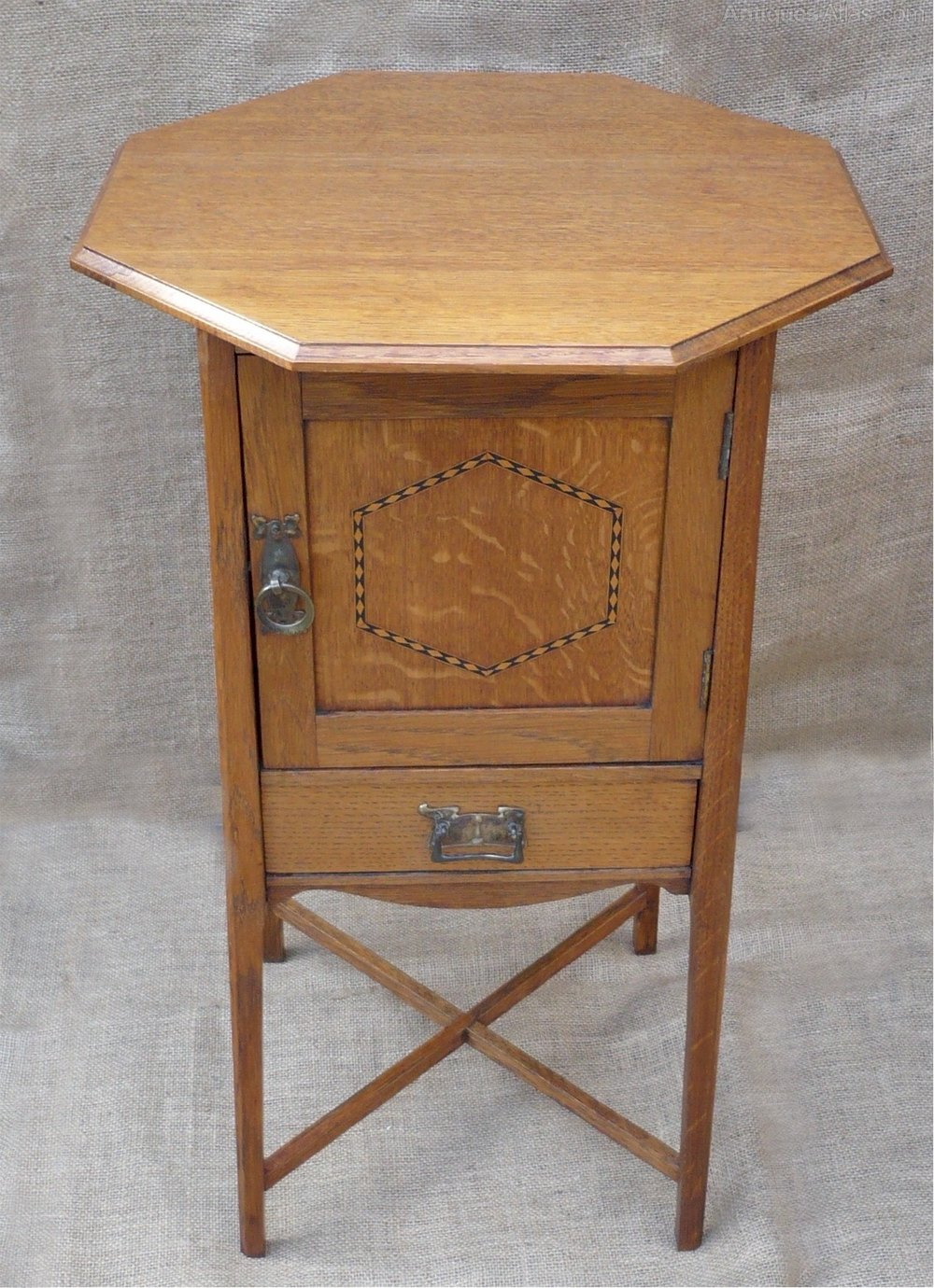 Arts And Crafts Inlaid Cabinet In Golden Oak Antiques Atlas