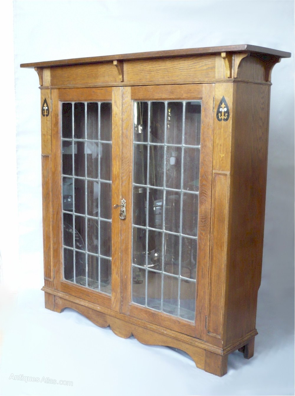 Arts And Crafts Oak Bookcase Leaded Glass Doors