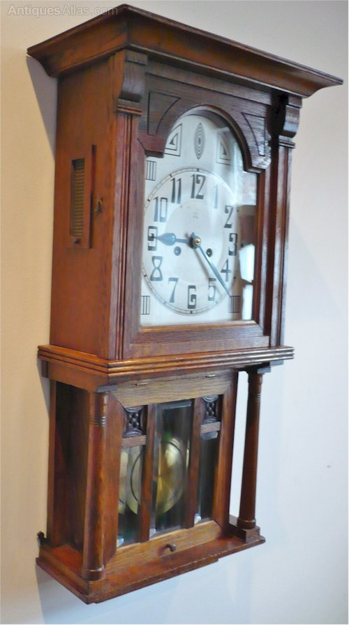 Antiques atlas arts and crafts wall clock in oak for Arts and crafts clocks for sale