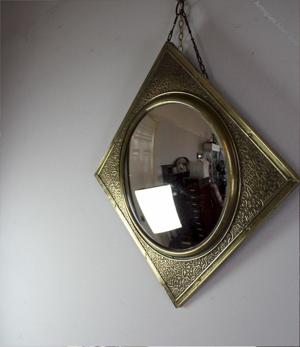 Antiques atlas convex mirror with chased brass frame for Convex mirror