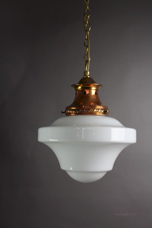 Edwardian Pendant Light With Milk Shade ... & Antiques Atlas - Edwardian Pendant Light With Milk Shade