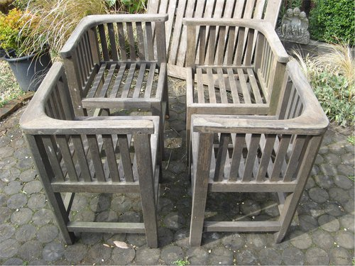 Four vintage teak garden chairs by Hughes bolckow ... - Antiques Atlas - Four Vintage Teak Garden Chairs By Hughes Bolckow