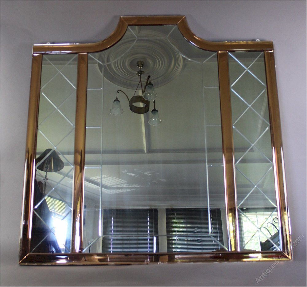 Antiques Atlas Large Art Deco Mirror With Peach Borders
